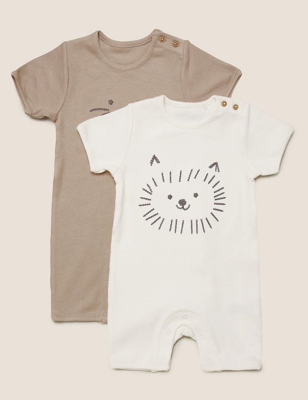 2pk Cotton Animal Rompers (7lbs- 12 Mths)