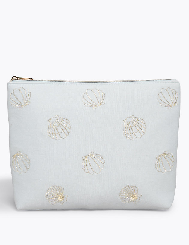 Embroidered Shell Make-up Pouch
