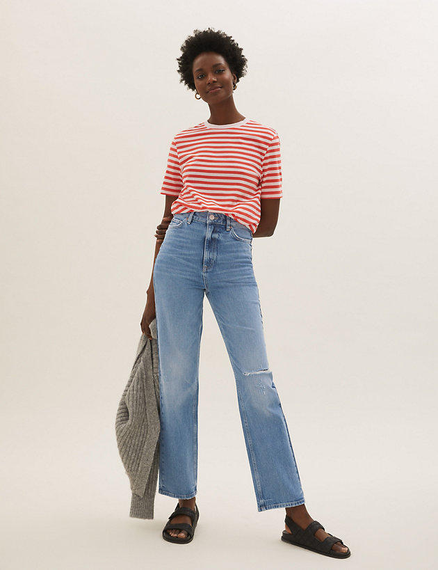 High Waisted Ripped Straight Leg Jeans