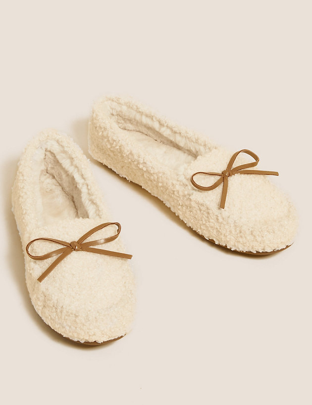 Borg Bow Moccasin Slippers