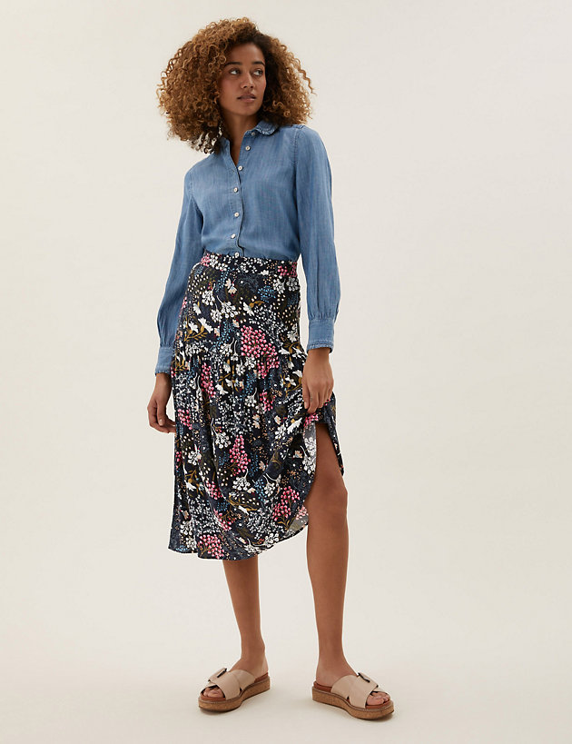 Floral Midaxi Tiered Skirt