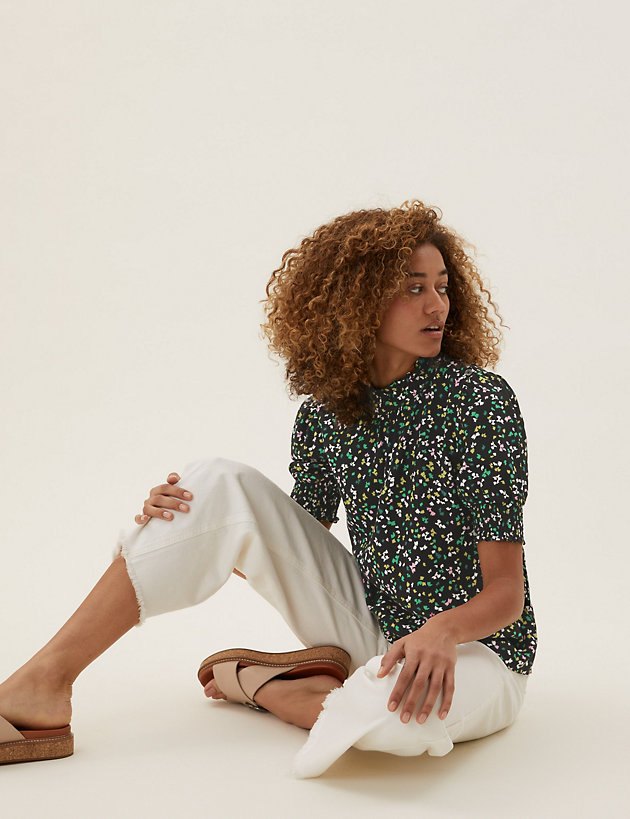 Ditsy Floral High Neck Short Sleeve Top