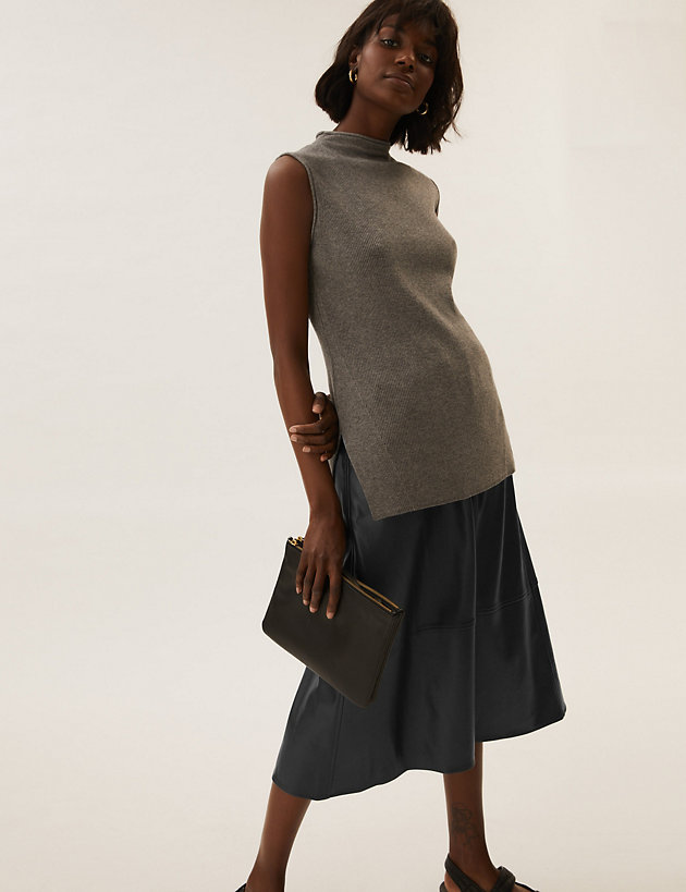 Faux Leather Midi A-Line Circle Skirt