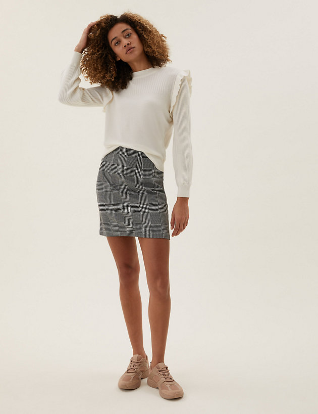 Jersey Checked Mini A-Line Skirt