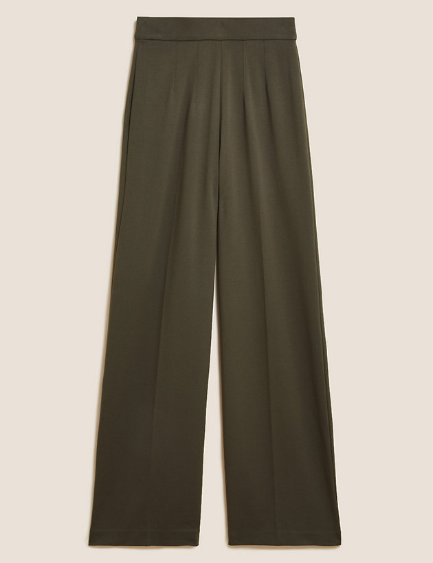 Jersey Wide Leg Trousers with Stretch