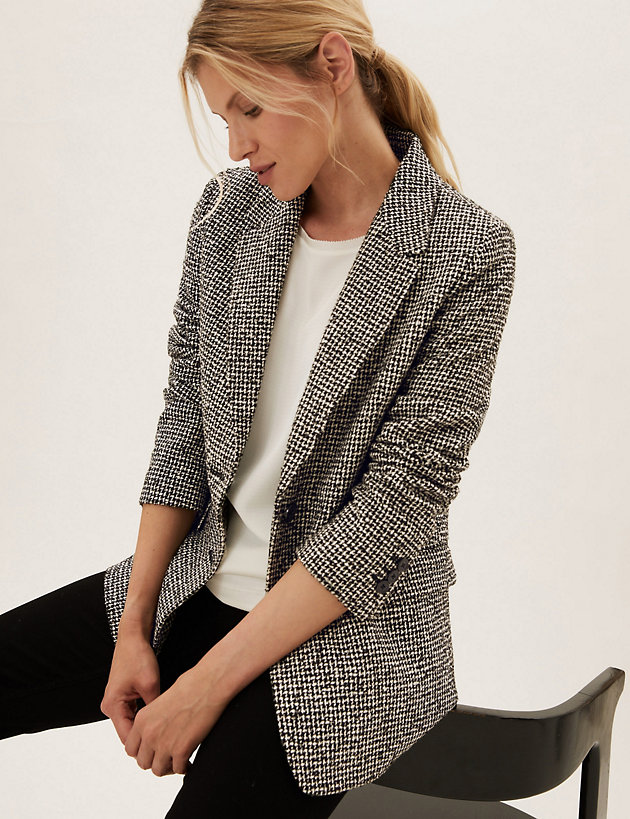Relaxed Checked Single Breasted Blazer