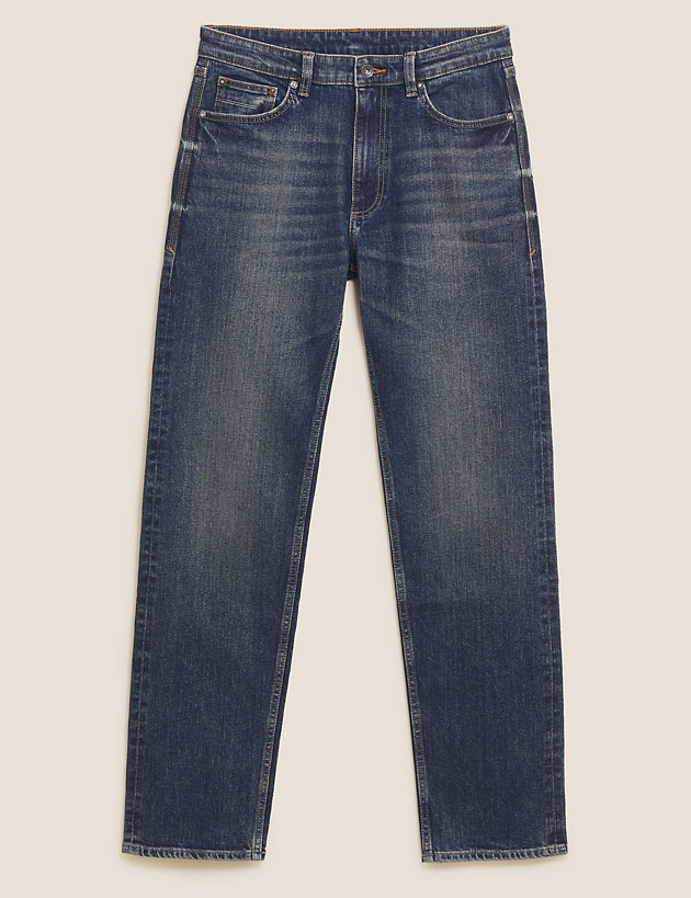 Straight Fit Vintage Wash Stretch Jeans