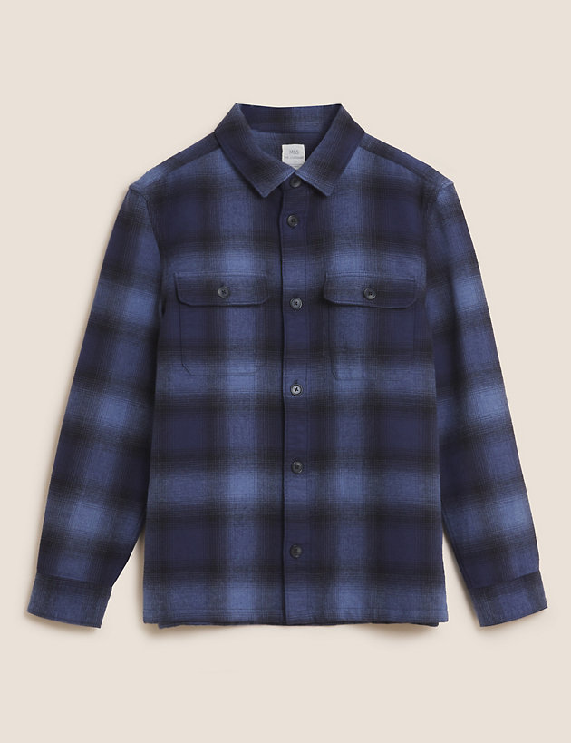 Cotton Double Faced Check Overshirt