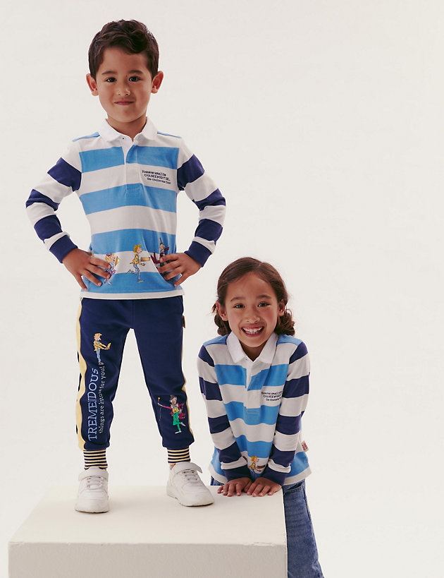 Pure Cotton Roald Dahl  Striped Rugby Shirt (2-7 Yrs)