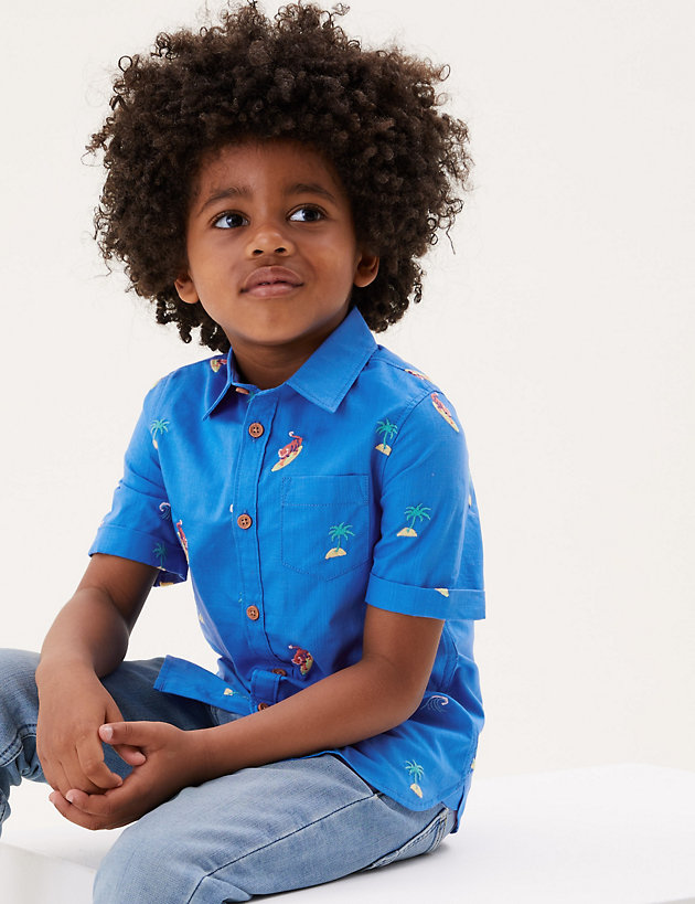 Pure Cotton Tiger Embroidered Shirt