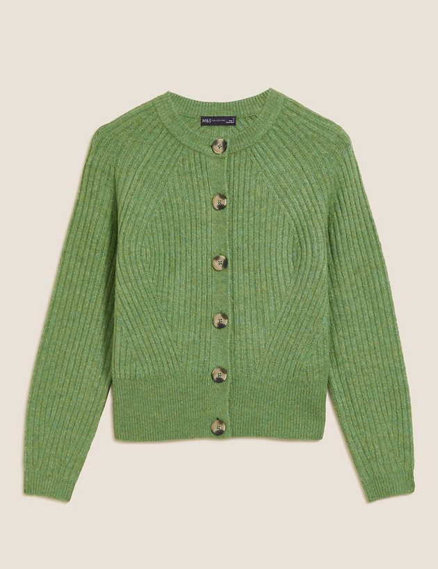 Ribbed Crew Neck Button Front Cardigan