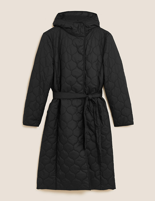 Lightweight Quilted Belted Longline Coat