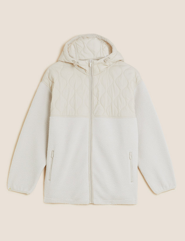 Borg Quilted Hooded Fleece Jacket