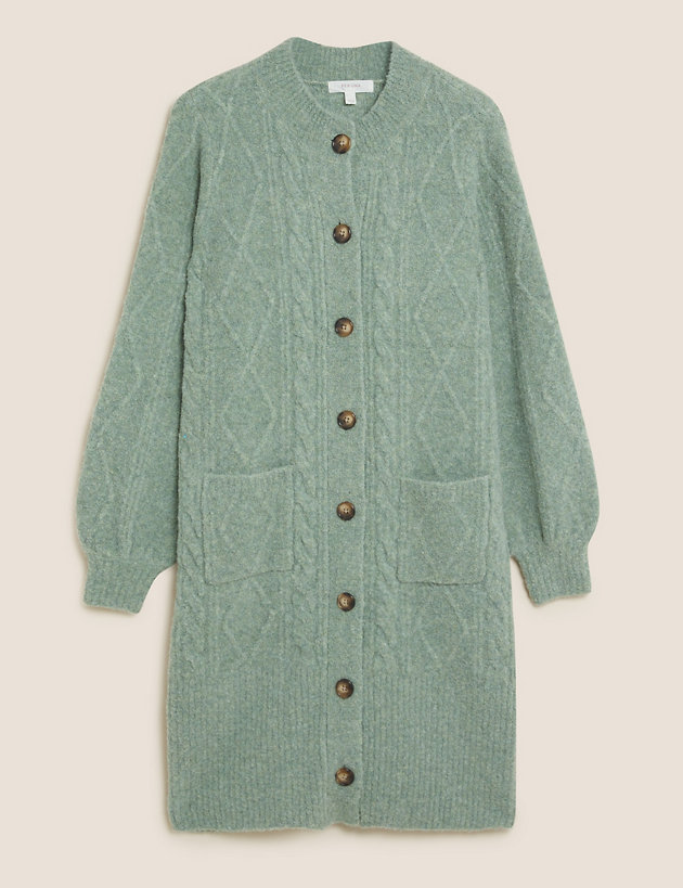 Cable Knit Longline Cardigan with Wool