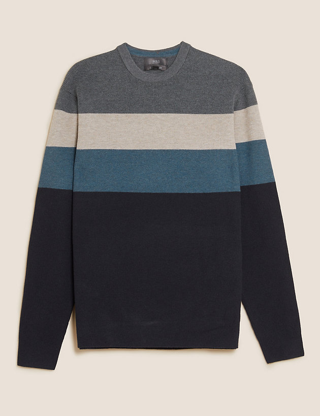 Ribbed Chest Striped Jumper