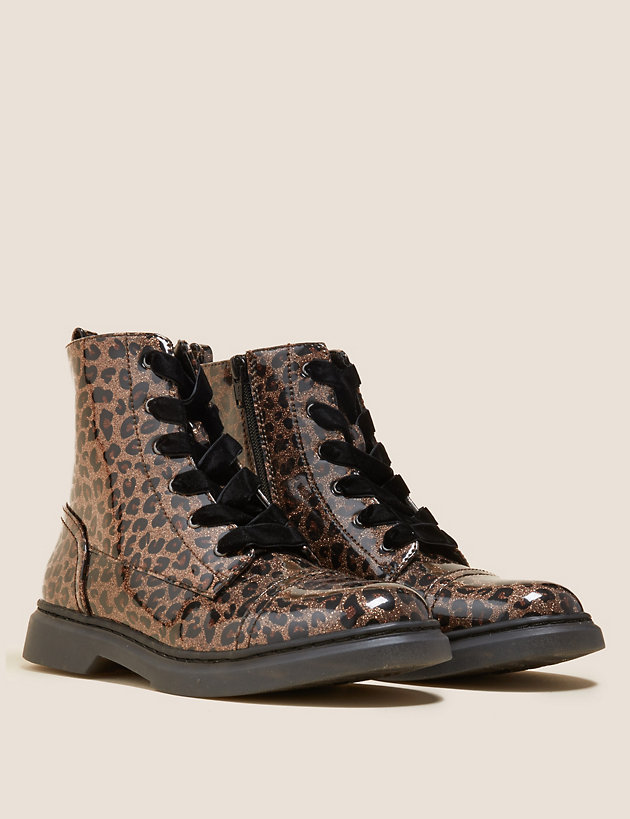 Kids' Freshfeet  Leopard Lace Boots (13 Small - 6 Large)