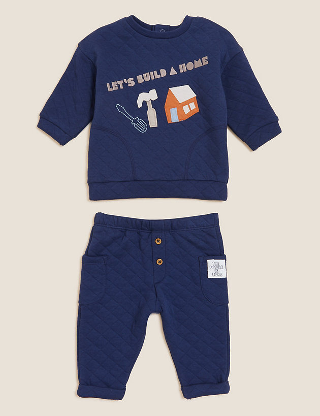 Cotton Quilted Slogan Outfit (0-3 Yrs)