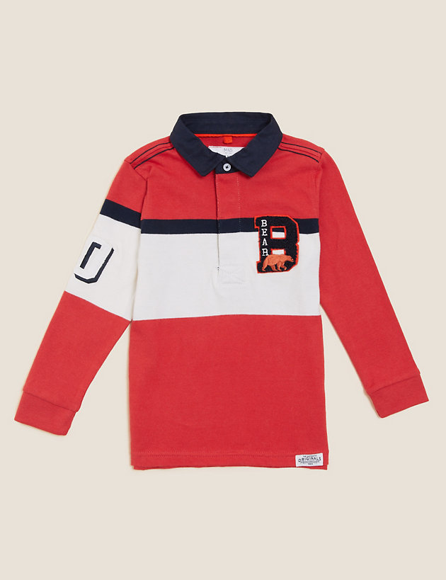 Pure Cotton Colour Block Rugby Top (2-7 Yrs)