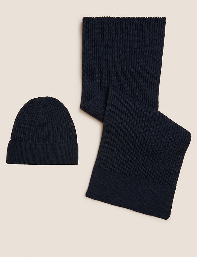 Ribbed Hat and Scarf Set with Thermowarmth