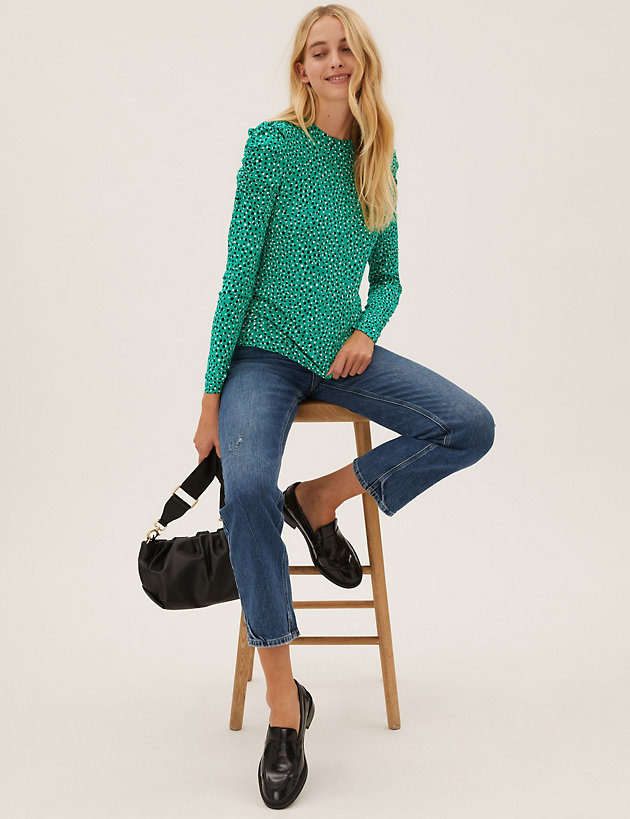 Polka Dot Crew Neck Fitted Puff Sleeve Top